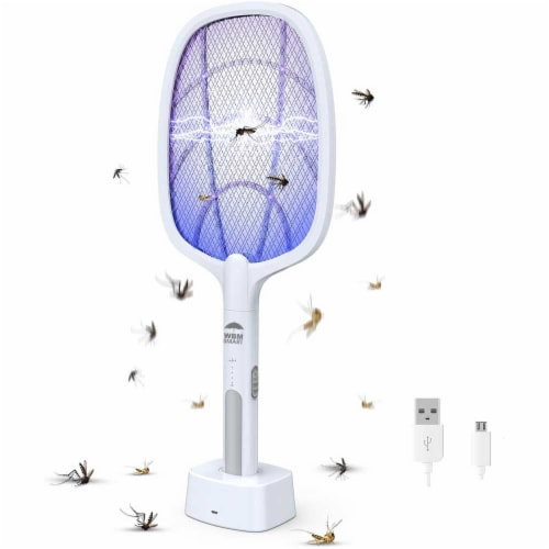 WBM Smart Bug Zapper, Electric Fly Swatter & Lamp, USB Rechargeable, 3-Layer Safety Mesh Perspective: front