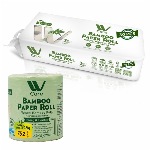 WBM Care Toilet Paper, Ultra Soft Bamboo 3-ply 100% Natural, 200 Sheets/Roll | 30 Roll Perspective: front