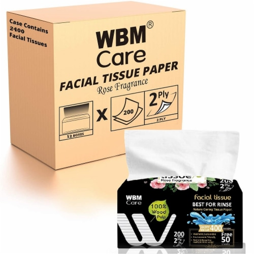 WBM Care Facial Tissue, Strong & Soft with Rose Fragrance, 2-Ply 200-Sheets/Box, Pack of 12 Perspective: front