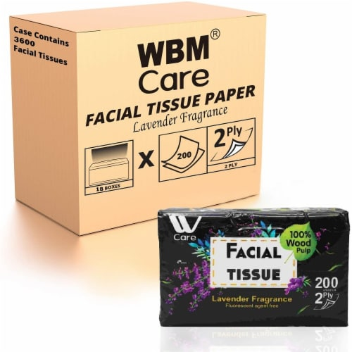 WBM Care Facial Tissue, Ultra Soft with Lavender Fragrance, 2-Ply | 200 Sheets/Box-Pack of 18 Perspective: front