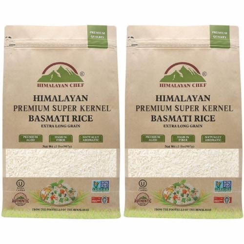 Himalayan Chef Basmati Rice, Fluffy & Long-Grain, Standup & Resealable Bag | 2 lbs - Pack 2 Perspective: front