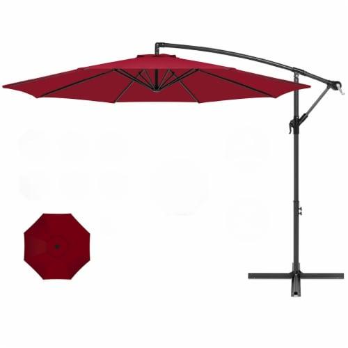 10' ft Outdoor Market Patio Umbrella Hanging Sun Shade Offset Crank Tilt Perspective: front