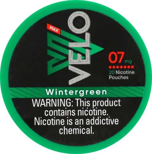 Velo Max Nicotine Pouches - Wintergreen Perspective: front