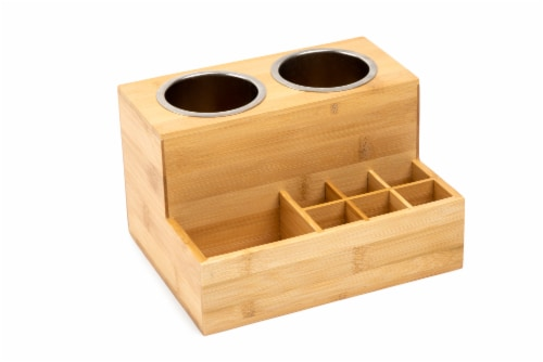 Core Home Large Bamboo Hair Accessories Organizer Perspective: front