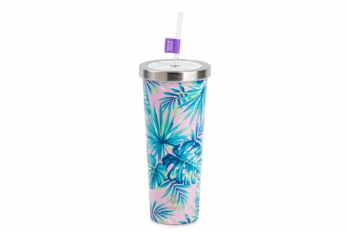 Manna Stainless Steel Chilly Tumbler - Purple Palm Perspective: front