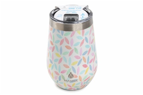 Manna Stemless Insulated Wine Cup - Pastel Leaves Perspective: front