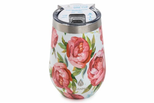 Manna Stemless Insulated Wine Cup - Rose Floral Perspective: front