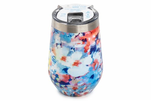 Manna Stemless Insulated Wine Cup - Watercolor Floral Perspective: front