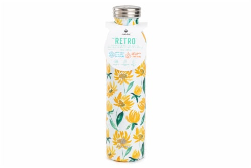 Manna Retro Water Bottle - Yellow Daisy Perspective: front