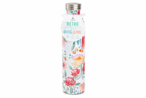 Manna Retro Water Bottle - Watercolor Floral Perspective: front