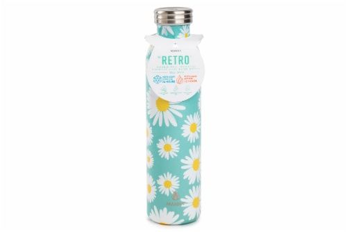 Manna Retro Water Bottle - White Daisy Perspective: front