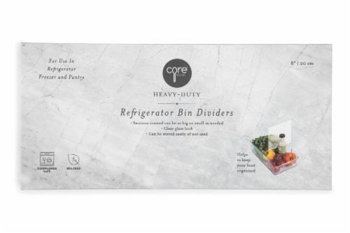 Core Kitchen Plastic Fridge Bin Dividers - Clear Perspective: front