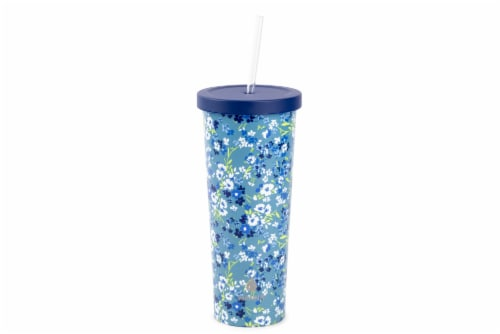 Manna Chilly Floral Tumbler - Blue/White Perspective: front