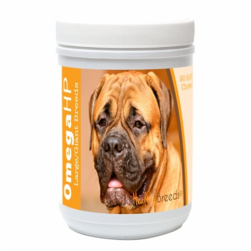 Healthy Breeds 840235102939 Bullmastiff Omega HP Fatty Acid Skin & Coat Support Soft Chews, 9 Perspective: front
