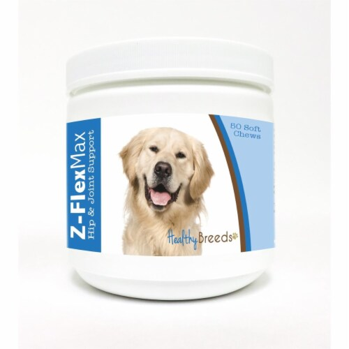 Healthy Breeds 840235107835 Golden Retriever Z-Flex Max Hip & Joint Soft Chews - 50 count Perspective: front