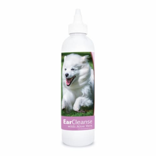 Healthy Breeds 840235198215 8 oz American Eskimo Dog Ear Cleanse with Aloe Vera Sweet Pea & V Perspective: front