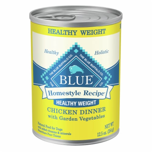 Blue Buffalo Homestyle Recipes Healthy Weight Chicken with Garden Vegetables Wet Dog Food Perspective: front
