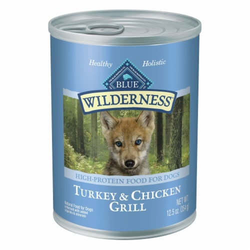 Blue Wilderness Puppy Turkey & Chicken Grill Wet Dog Food Perspective: front