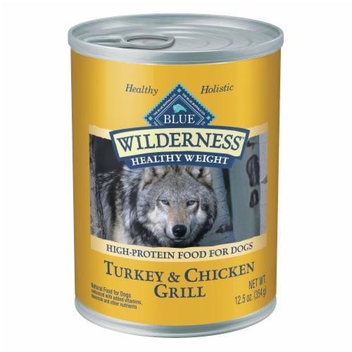 Blue Wilderness Turkey & Chicken Grill Healthy Weight Wet Dog Food Perspective: front