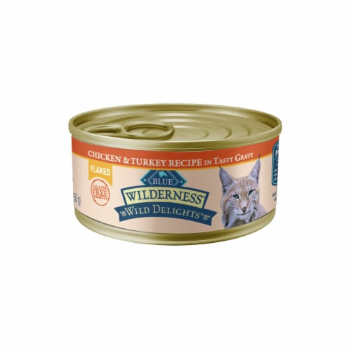Blue Buffalo Wilderness Wild Delights Flaked Chicken & Turkey Wet Cat Food Perspective: front
