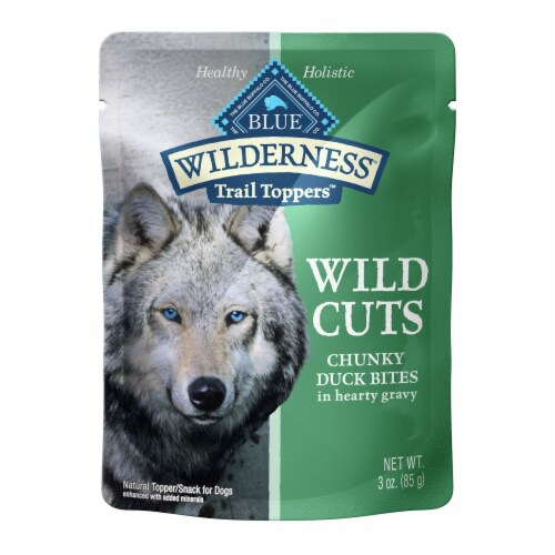 Blue Wilderness Trail Toppers Wild Cuts Chunky Duck Bites Wet Dog Food Perspective: front