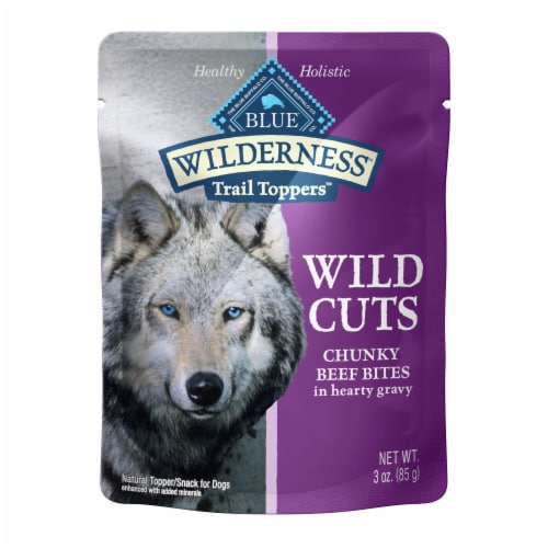 Blue Wilderness Trail Toppers Wild Cuts Chunky Beef Bites Wet Dog Food Perspective: front