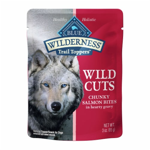 Blue Wilderness Wild Cuts Chunky Salmon Bites Wet Dog Food Topper Perspective: front