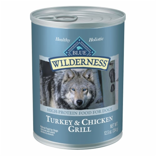 Blue Wilderness Turkey & Chicken Grill Wet Dog Food Perspective: front
