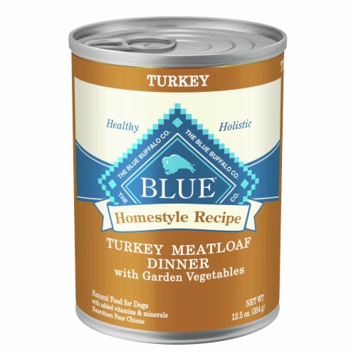 Blue Buffalo Turkey Meatloaf Dinner Homestyle Recipe Natural Dog Food Perspective: front