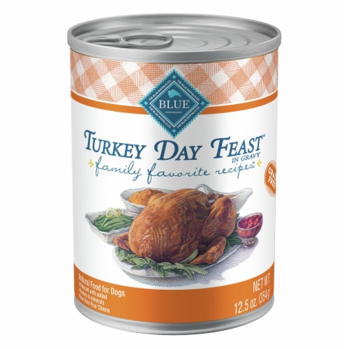 Blue Buffalo Family Favorite Recipes Turkey Day Feast Wet Dog Food Perspective: front