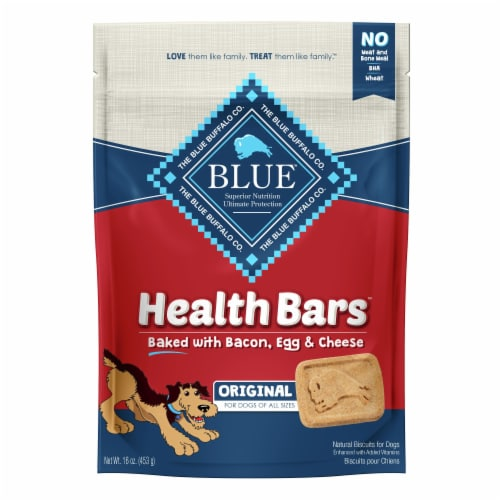 Blue Buffalo Health Bars Bacon Egg & Cheese Natural Dog Biscuits Perspective: front