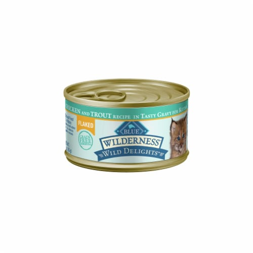 Blue Wilderness Kitten Wild Delights Chicken & Trout Meaty Morsels Wet Cat Food Perspective: front