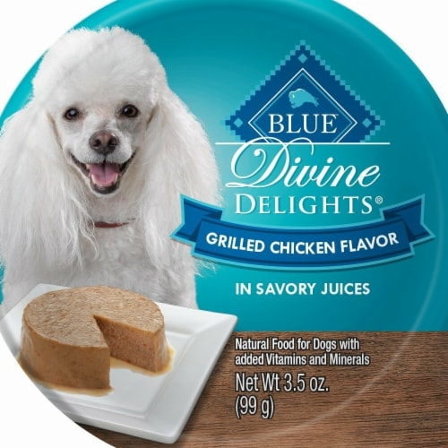 Blue Buffalo 3.5oz Divine Delights Grilled Chicken Flavor in Savory Juice Wet Dog Food 12Pk Perspective: front