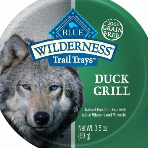 Blue Buffalo 596734 3.5 oz Wilderness Trail Duck Grill Wet Dog Food - Pack of 12 Perspective: front