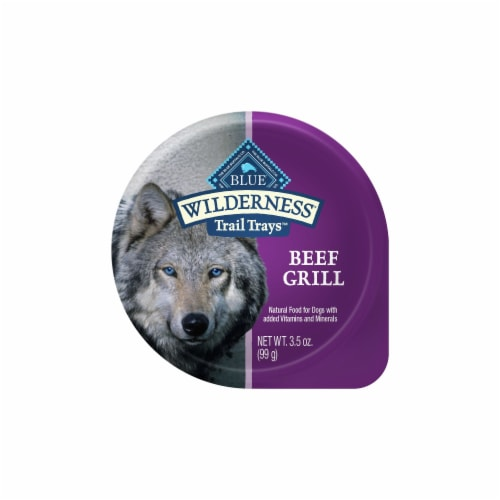 Blue Buffalo Wilderness Beef Grill Trail Trays Wet Dog Food Perspective: front
