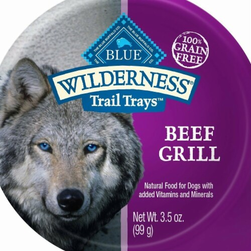 Blue Buffalo 596732 3.5 oz Wilderness Trail Beef Grill Wet Dog Food - Pack of 12 Perspective: front