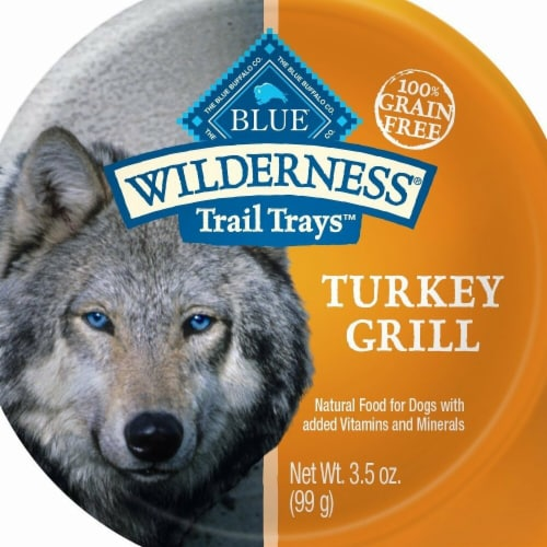 Blue Buffalo 596735 3.5 oz Wilderness Trail Turkey Grill Wet Dog Food - Pack of 12 Perspective: front