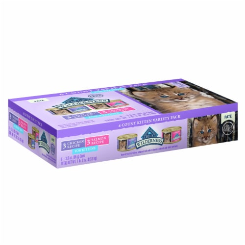 Blue Wilderness Pate Wet Kitten Food Variety Pack Perspective: front