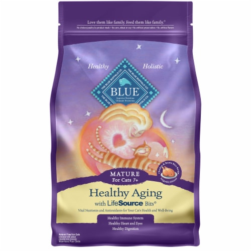Blue Buffalo Chicken & Brown Rice Recipe Mature Healthy Aging Natural Cat Food Perspective: front