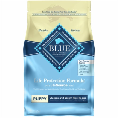 Blue Buffalo Chicken and Brown Rice Recipe Life Protection Formula Puppy Dog Food Perspective: front