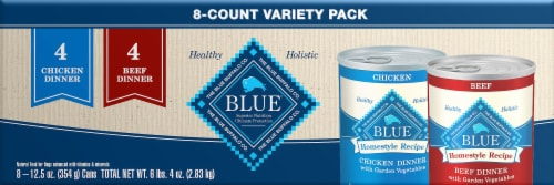 Blue Buffalo HomeStyle Recipe Chicken & Beef Wet Dog Food Variety Pack Perspective: front