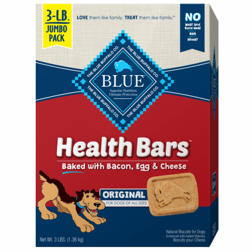 Blue Buffalo Health Bars Bacon Egg & Cheese Dog Biscuits Perspective: front