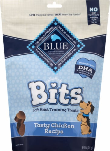 Blue Buffalo Blue Bits Tasty Chicken Recipe Soft-Moist Training Dog Treats Perspective: front