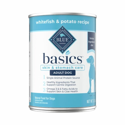 Blue Buffalo Basics Limited Ingredient Diet Whitefish & Potato Recipe Adult Wet Dog Food Perspective: front