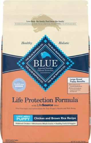 Blue Buffalo Large Breed Puppy Chicken and Brown Rice Recipe Perspective: front