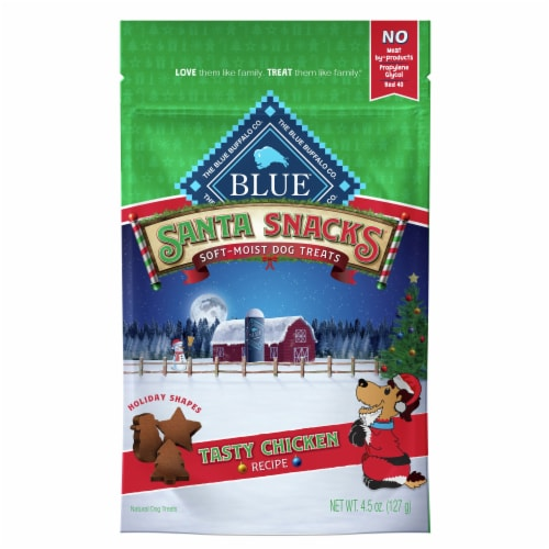 Blue Buffalo Santa Snacks Elf Cookies Soft & Moist Chicken Recipe Dog Treats Perspective: front