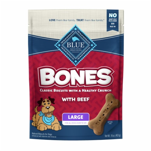 Blue Buffalo Beef Large Dog Biscuit Bones Perspective: front