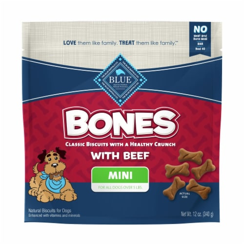 Blue Buffalo Bones Beef Flavored Mini Dog Biscuits Perspective: front