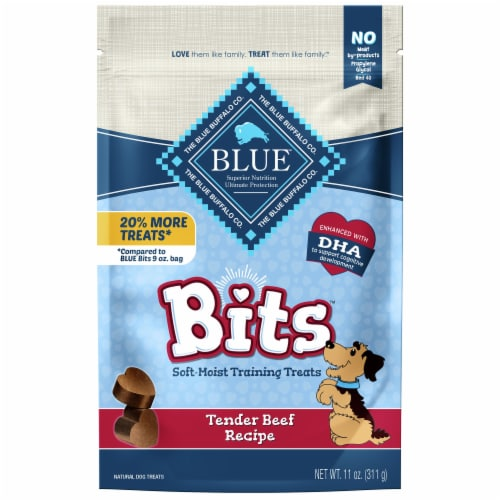 Blue Buffalo Bits Tender Beef Recipe Soft Moist Dog Training Treats Perspective: front