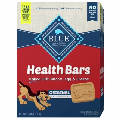 Blue Buffalo Bacon Egg & Cheese Health Bars Natural Biscuit Dog Treats Perspective: front